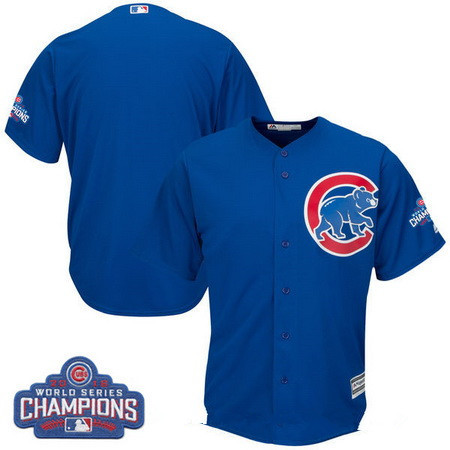 Men's Chicago Cubs Blank Majestic Royal Blue 2016 World Series Champions Team Logo Patch Team Jersey