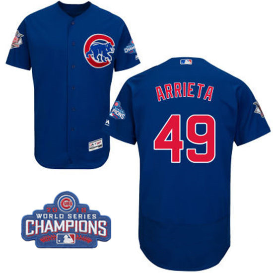 Men's Chicago Cubs #49 Jake Arrieta Royal Blue Majestic Flex Base 2016 World Series Champions Patch Jersey