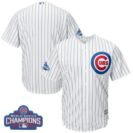 Men's Chicago Cubs Blank Majestic Home White 2016 World Series Champions Team Logo Patch Team Jersey