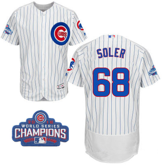 Men's Chicago Cubs #68 Jorge Soler White Home Majestic Flex Base 2016 World Series Champions Patch Jersey