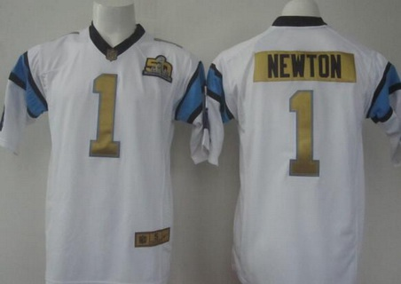 Jerseys NFL Outlet - Men's Carolina Panthers #1 Cam Newton White Super Bowl 50th ...