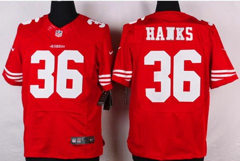 mens san francisco 49ers 36 merton hanks scarlet red retired player nfl nike elite jersey
