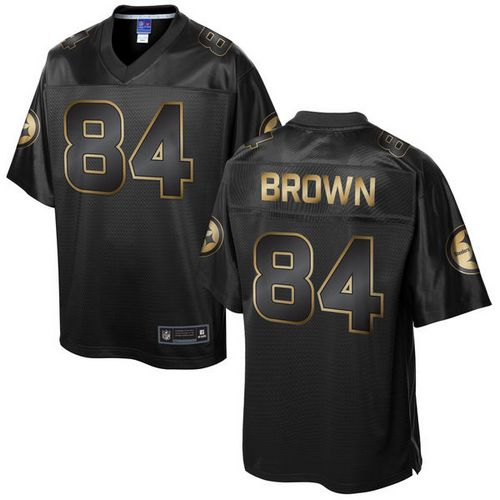 ID178204 Nike Steelers #84 Antonio Brown Pro Line Black Gold Collection Men\'s Stitched NFL Game Jersey