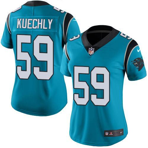 ID96735 Nike Panthers #59 Luke Kuechly Blue Women\'s Stitched NFL Limited Rush Jersey