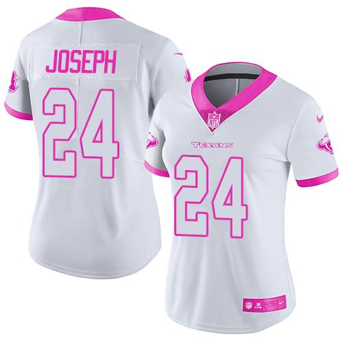 ID96829 Nike Texans #24 Johnathan Joseph White Pink Women\'s Stitched NFL Limited Rush Fashion Jersey