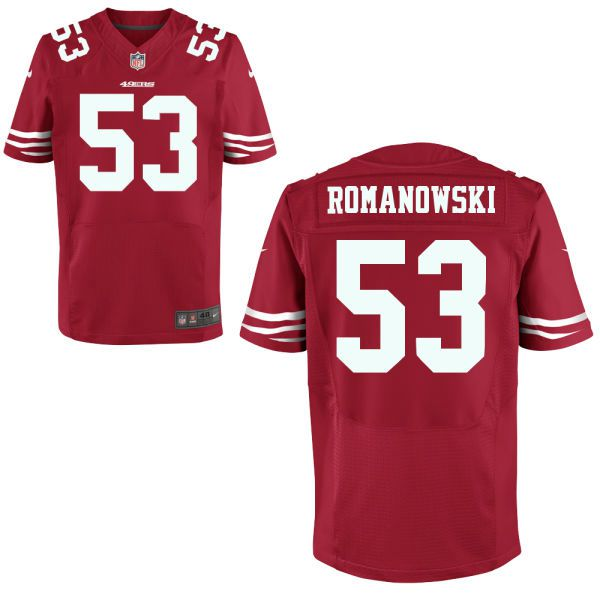 mens san francisco 49ers retired player 53 bill romanowski red nfl nike elite jersey
