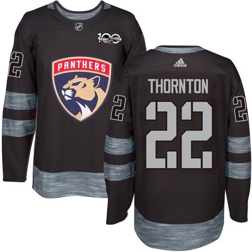Panthers #22 Shawn Thornton Black 1917-2017 100th Anniversary Stitched NHL Jersey