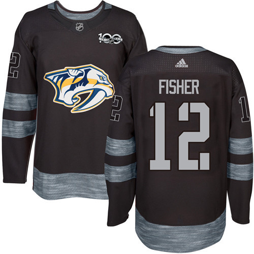Predators #12 Mike Fisher Black 1917-2017 100th Anniversary Stitched NHL Jersey