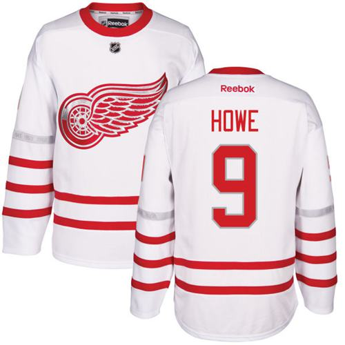 Red Wings #9 Gordie Howe White Centennial Classic Stitched NHL Jersey