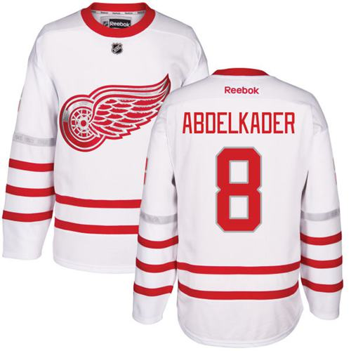Red Wings #8 Justin Abdelkader White Centennial Classic Stitched NHL Jersey
