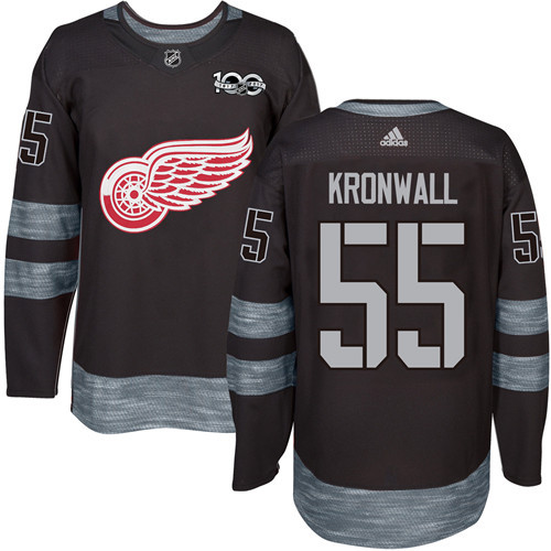 Red Wings #55 Niklas Kronwall Black 1917-2017 100th Anniversary Stitched NHL Jersey