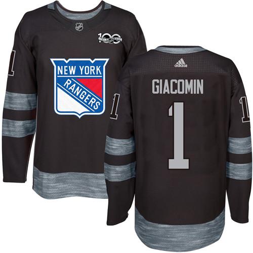 Men's York Rangers #1 Eddie Giacomin Black 1917-2017 100th Anniversary Stitched NHL Jersey