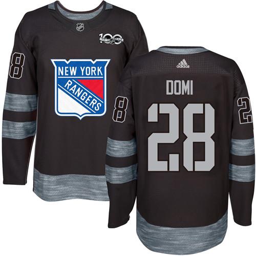 Men's York Rangers #28 Tie Domi Black 1917-2017 100th Anniversary Stitched NHL Jersey