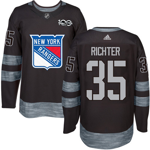 Men's York Rangers #35 Mike Richter Black 1917-2017 100th Anniversary Stitched NHL Jersey
