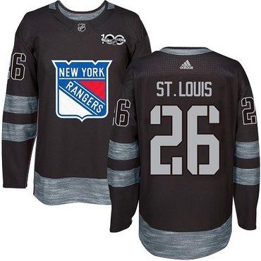 Men's York Rangers #26 Martin St.Louis Black 1917-2017 100th Anniversary Stitched NHL Jersey