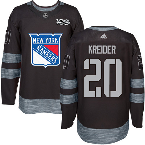 Men's York Rangers #20 Chris Kreider Black 1917-2017 100th Anniversary Stitched NHL Jersey