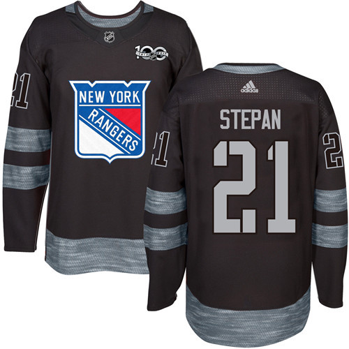Men's York Rangers #21 Derek Stepan Black 1917-2017 100th Anniversary Stitched NHL Jersey