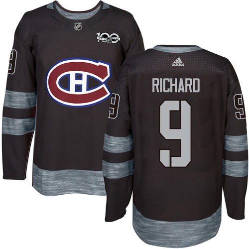 Canadiens #9 Maurice Richard Black 1917-2017 100th Anniversary Stitched NHL Jersey