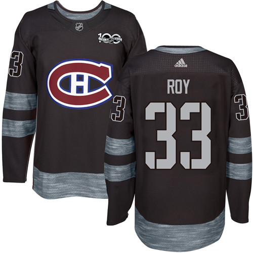 Canadiens #33 Patrick Roy Black 1917-2017 100th Anniversary Stitched NHL Jersey