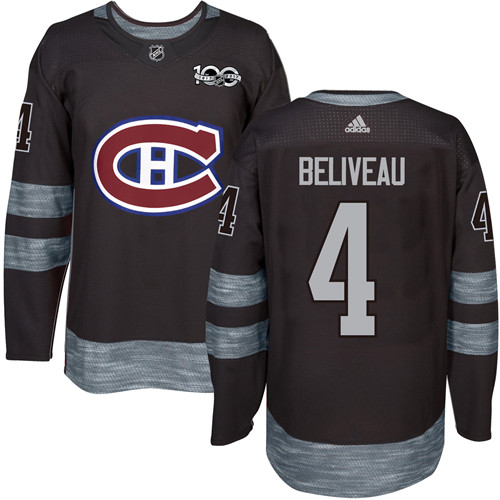 Canadiens #4 Jean Beliveau Black 1917-2017 100th Anniversary Stitched NHL Jersey