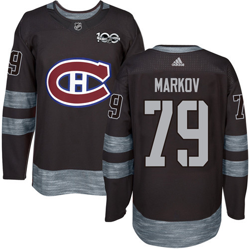 Canadiens #79 Andrei Markov Black 1917-2017 100th Anniversary Stitched NHL Jersey