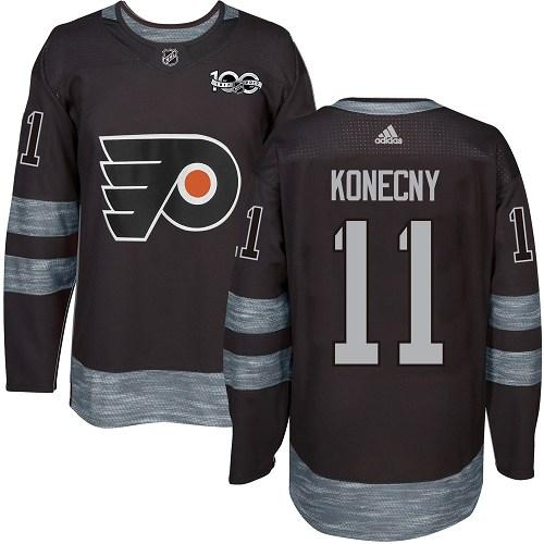 Flyers #11 Travis Konecny Black 1917-2017 100th Anniversary Stitched NHL Jersey