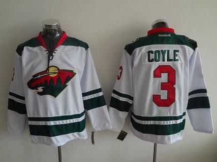Men's Minnesota Wild #3 Charlie Coyle Reebok White Away Premier Hockey Jersey