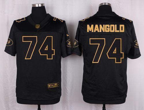 ID101834 Nike Jets #74 Nick Mangold Black Men\'s Stitched NFL Elite Pro Line Gold Collection Jersey