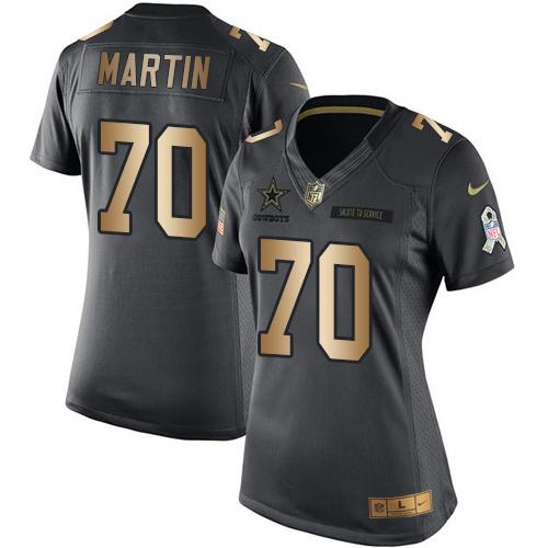 ID96271 Nike Cowboys #70 Zack Martin Black Women\'s Stitched NFL Limited Gold Salute to Service Jersey