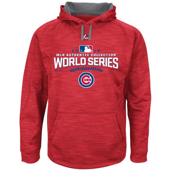 Chicago Cubs Scarlet 2016 World Series Champions Locker Room Streak Fleece Men's Pullover Hoodie
