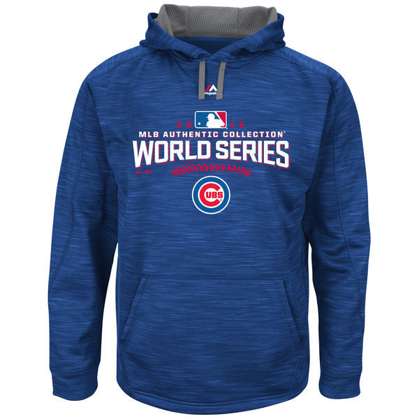 Chicago Cubs Royal 2016 World Series Bound Authentic Collection On Field Participant Streak Fleece Men's Pullover Hoodie