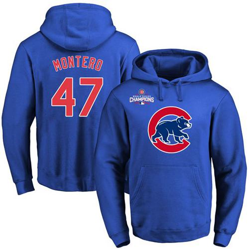 Cubs #47 Miguel Montero Blue 2016 World Series Champions Primary Logo Pullover MLB Hoodie