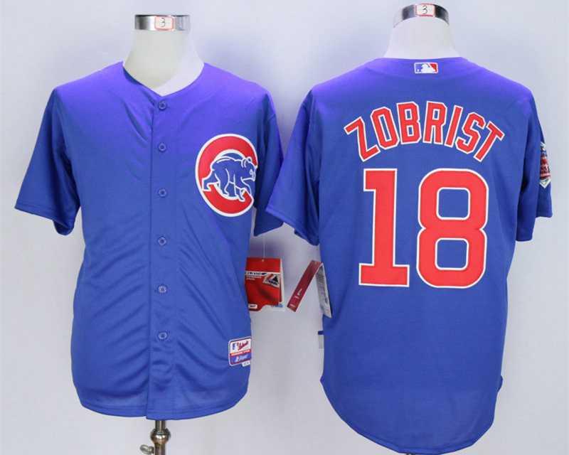 d3579c77b72 ... Mens Chicago Cubs 18 Ben Zobrist Blue Cool Base Jersey MLB ...