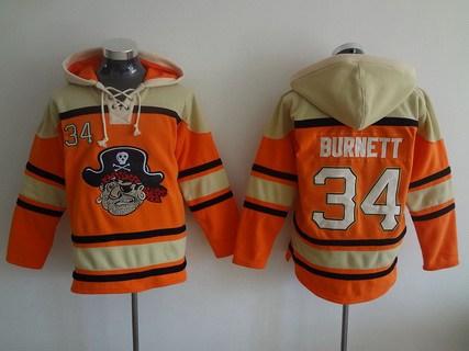 Men's Pittsburgh Pirates #34 A. J. Burnett Orange MLB Baseball Hoodie