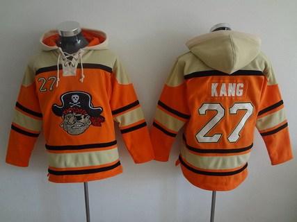 Men's Pittsburgh Pirates #27 Jung-Ho Kang Orange MLB Baseball Hoodie