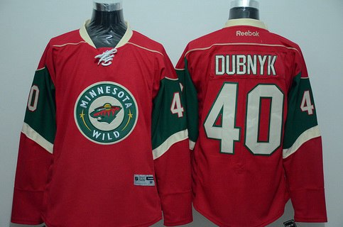 Men's Minnesota Wild #40 Devan Dubnyk Red Reebok Hockey Jersey