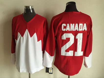 Men's Team Canada #21 Canada 1972 CCM Throwback Hockey Red Jersey