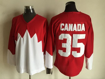 Men's Team Canada #35 Canada 1972 CCM Throwback Hockey Red Jersey