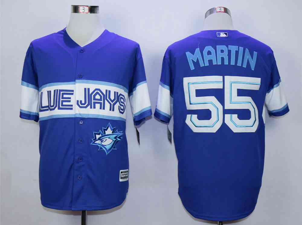 mens toronto blue jays 55 russell martin navy blue new cool base jersey