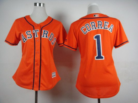 dc555296c womens houston astros 1 carlos correa alternate orange 2015 mlb cool base  jersey
