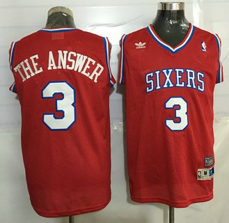 Philadelphia 76ers #3 The Answer Nickname Red Soul Swingman Jersey