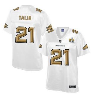 denver broncos 21 aqib talib nike all white with gold 2016 super bowl 50 patch women