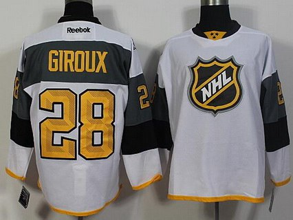 Men's Philadelphia Flyers #28 Claude Giroux 2008White NHL 2016 All-Star Premier Jersey