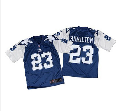 ID101164 Nike Cowboys #23 Jakar Hamilton Navy BlueWhite Throwback Men\'s Stitched NFL Elite Jersey