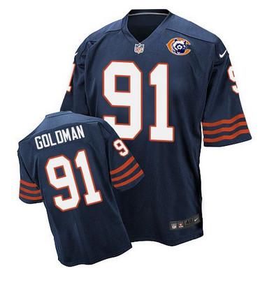 ID101144 Nike Bears #91 Eddie Goldman Navy Blue Throwback Men\'s Stitched NFL Elite Jersey