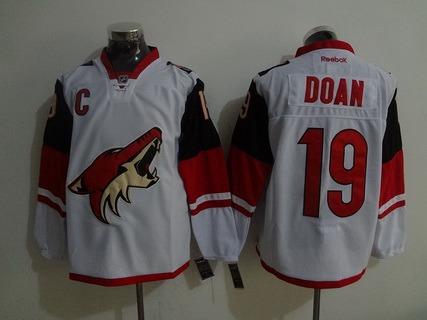 Men's Arizona Coyotes #19 Shane Doan Reebok White Premier Away Jersey