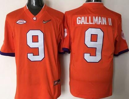 Men's Clemson Tigers #9 Wayne Gallman II Orange 2016 Playoff Diamond Quest College Football Nike Limited Jersey