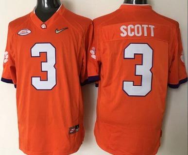 Men's Clemson Tigers #3 Artavis Scott Orange 2016 Playoff Diamond Quest College Football Nike Limited Jersey