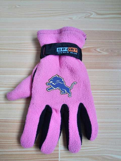 ID100962 Detroit Lions NFL Adult Winter Warm Gloves Pink