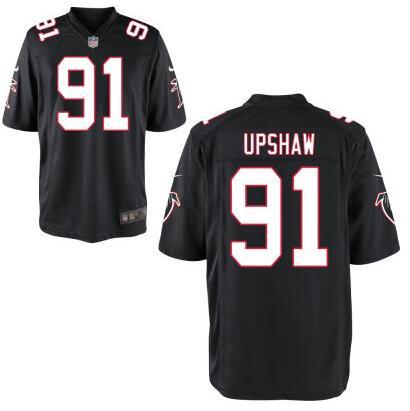 ID100879 Men\'s Atlanta Falcons #91 Courtney Upshaw Black Alternate NFL Nike Elite Jersey